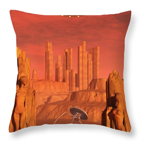 Vertical Throw Pillow featuring the digital art Members Of The Planets Advanced by Mark Stevenson