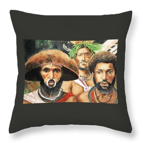 Papua Throw Pillow featuring the painting Men From New Guinea by Judy Swerlick