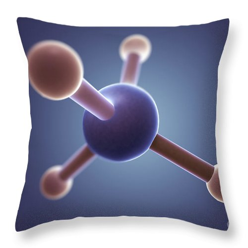 Close-up Throw Pillow featuring the photograph Methane Molecule by Science Picture Co