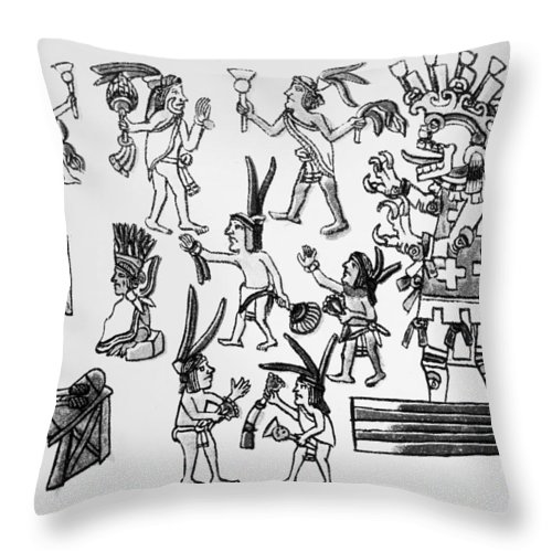 16th Century Throw Pillow featuring the painting Mexico Aztec Ceremony by Granger