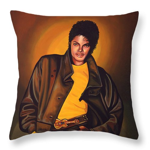 Michael Jackson Throw Pillow featuring the painting Michael Jackson by Paul Meijering