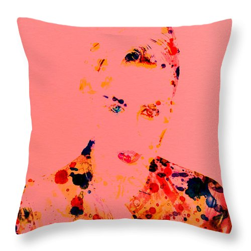 Miley Ray Cyrus Throw Pillow featuring the digital art Miley Cyrus by Brian Reaves