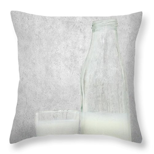 Cheerfully Throw Pillow featuring the mixed media Milk by Heike Hultsch
