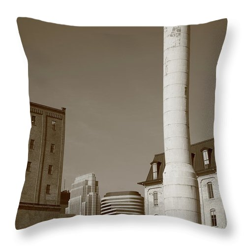 America Throw Pillow featuring the photograph Minneapolis Smokestack by Frank Romeo