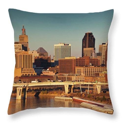 Dawn Throw Pillow featuring the photograph Minneapolis, St. Paul, Minnesota, City by Walter Bibikow