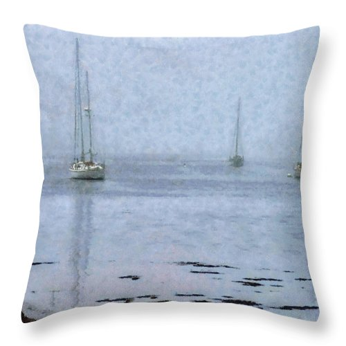 New England Coastline Throw Pillow featuring the photograph Misty Sails Upon The Water by Jeff Folger