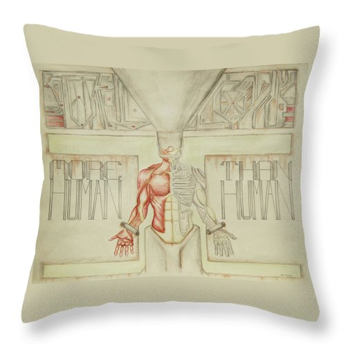 Anatomy Throw Pillow featuring the painting More Human Than Human by Jeffrey Oleniacz