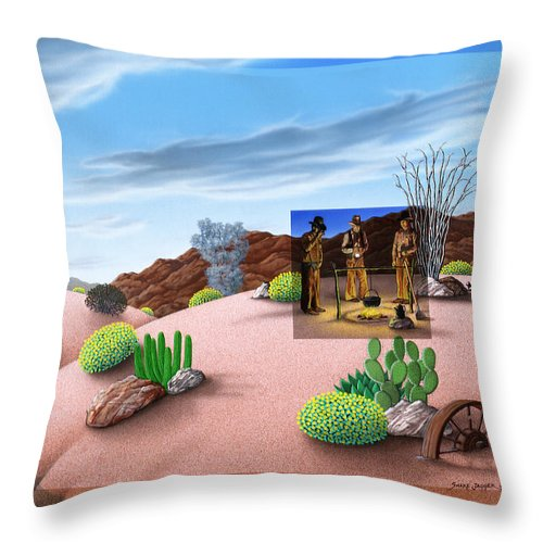 Coffee Throw Pillow featuring the painting Morning Cup O Joe by Snake Jagger