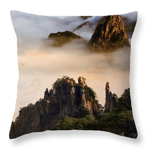 Morning Fog China Mountains Throw Pillow featuring the digital art Morning Fog China Mountains by Heinz G Mielke