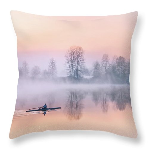 Sunrise Throw Pillow featuring the photograph Morning Solitude by Kasandra Sproson