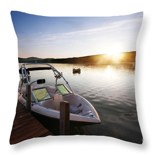 Boat Throw Pillow featuring the photograph Morning Sun On The Lake by Jo Ann Snover