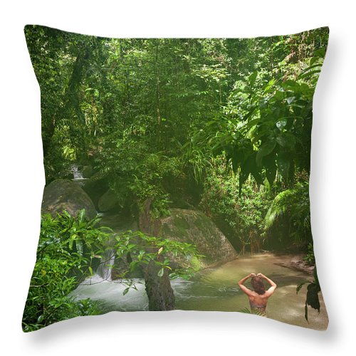 Scenics Throw Pillow featuring the photograph Mossman Gorge Daintree National Park by Peter Adams