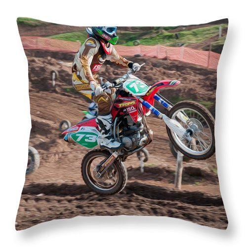 Motorcross Throw Pillow featuring the digital art Motocross Rider by Roy Pedersen