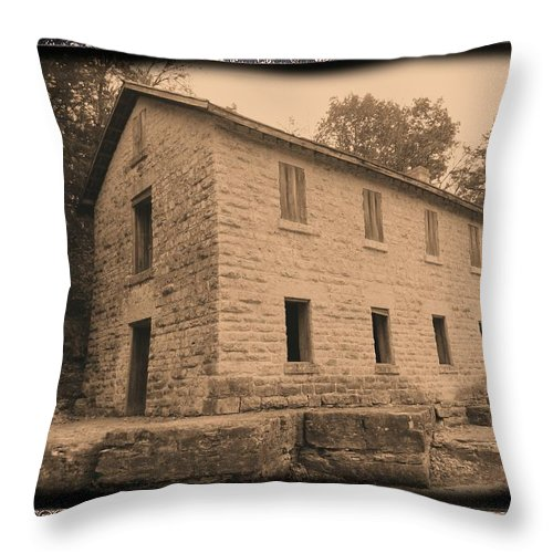 Cooperage Throw Pillow featuring the photograph Motor Mill Cooperage by Bonfire Photography