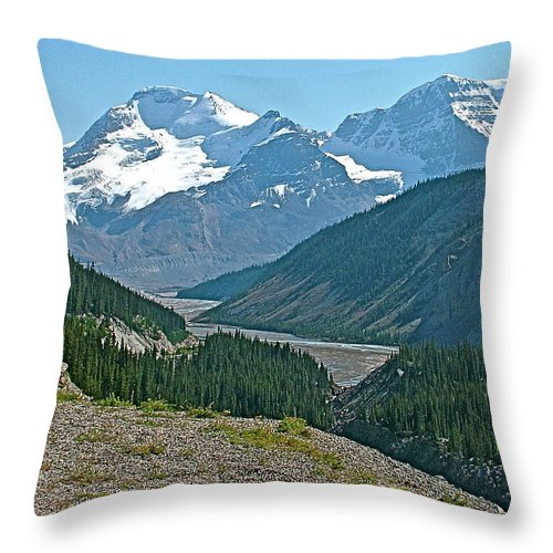 Mountain Peaks From Icefields Parkway In Alberta Throw Pillow featuring the photograph Mountain Peaks From Icefields Parkway-alberta by Ruth Hager