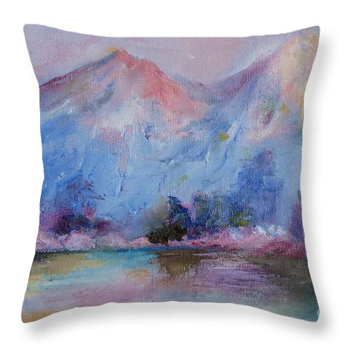 Landscape Throw Pillow featuring the painting Mountain Vista 2 by Pusita Gibbs