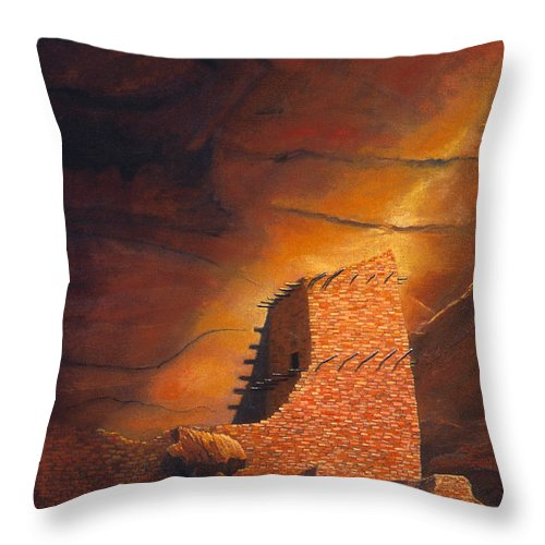 Mummy Cave Ruins Throw Pillow featuring the painting Mummy Cave Ruins by Jerry McElroy