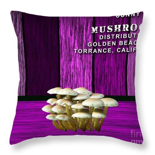 Mushroom Art Mixed Media Throw Pillow featuring the mixed media Mushroom Farm by Marvin Blaine