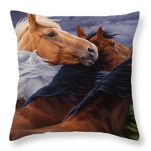 Michelle Grant Throw Pillow featuring the painting Mutual Support by JQ Licensing