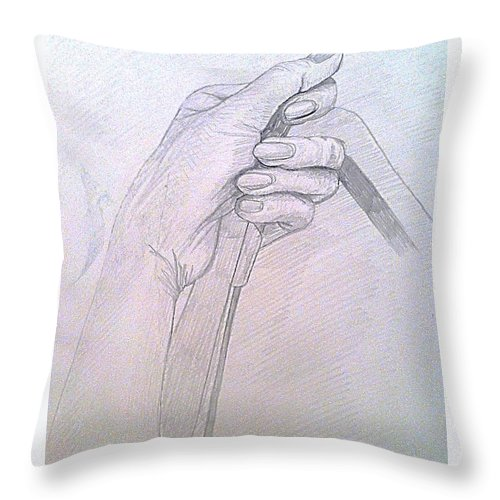 Hand Throw Pillow featuring the drawing My Left Hand by Michelle Deyna-Hayward