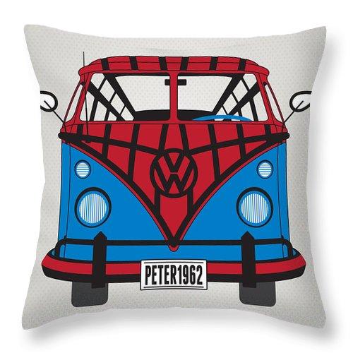 Superheroes Throw Pillow featuring the digital art My Superhero-vw-t1-spiderman by Chungkong Art