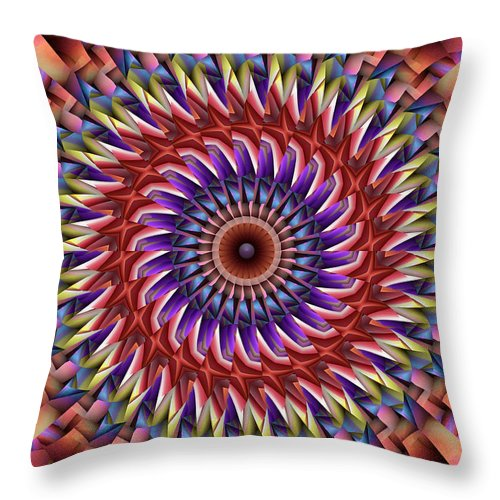 Kaleidoscope Throw Pillow featuring the digital art Natural Attributes 20 Vertical by Wendy J St Christopher
