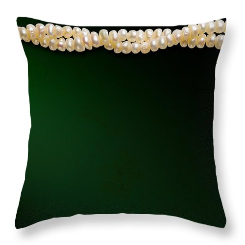 Accessory Throw Pillow featuring the photograph Natural Pearls Necklace by Alain De Maximy
