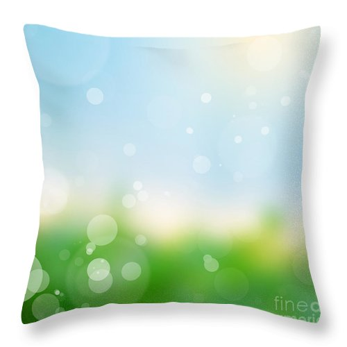 Summer Throw Pillow featuring the photograph Nature Blur Summer Background. by Michal Bednarek