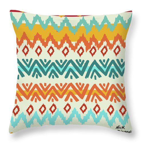 Navajo Throw Pillow featuring the digital art Navajo Mission Round by Nicholas Biscardi