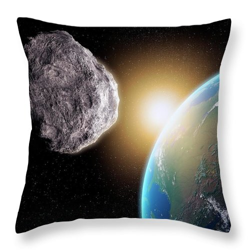 Shadow Throw Pillow featuring the digital art Near-earth Asteroid, Artwork by Science Photo Library - Andrzej Wojcicki