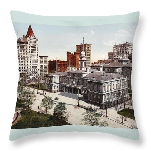 New York City Hall 1900 Throw Pillow featuring the digital art New York City Hall 1900 by Unknown