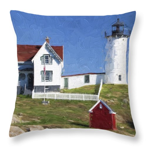 Light Throw Pillow featuring the photograph Nubble Lighthouse Maine Painterly Effect by Carol Leigh