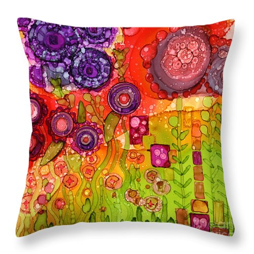Abstract Throw Pillow featuring the painting Number I by Vicki Baun Barry