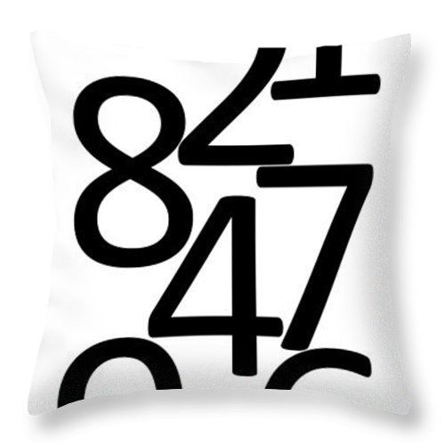 Numbers Throw Pillow featuring the digital art Numbers In Black And White by Jackie Farnsworth