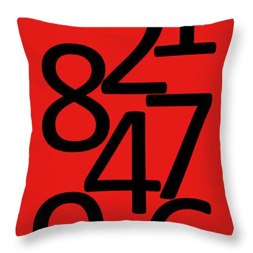 Numbers Throw Pillow featuring the digital art Numbers In Red And Black by Jackie Farnsworth
