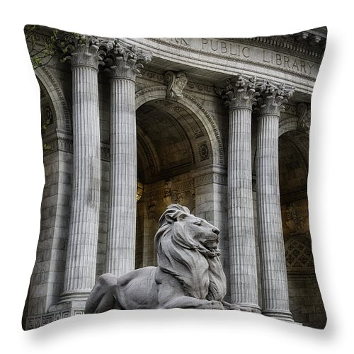 Hdr Throw Pillow featuring the photograph Ny Library Lion by Jerry Fornarotto