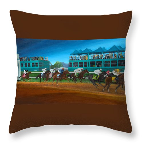 Horse Throw Pillow featuring the painting Odds Are Not by Sherryl Lapping