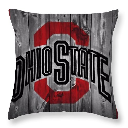 Ohio State University Throw Pillow featuring the photograph Ohio State Buckeyes by Dan Sproul