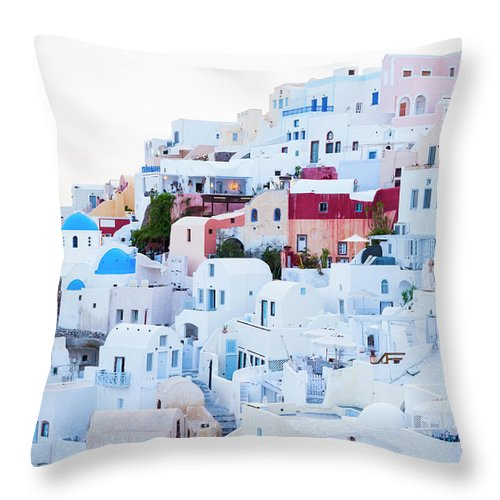 Tranquility Throw Pillow featuring the photograph Oia by Jorg Greuel