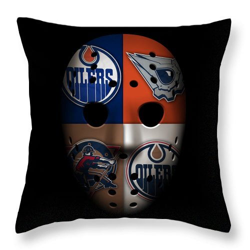 Oilers Throw Pillow featuring the photograph Oilers Goalie Mask by Joe Hamilton