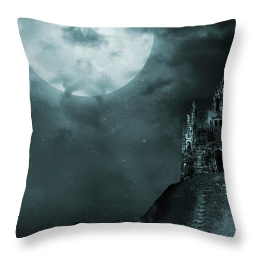 Gothic Style Throw Pillow featuring the photograph Old Castle by Vladgans