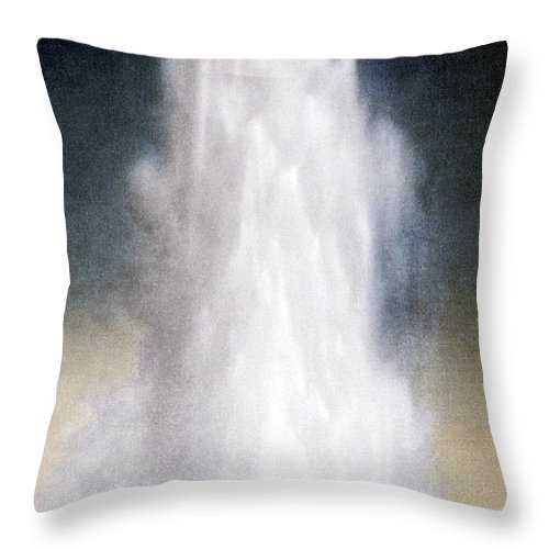 Old Faithful Throw Pillow featuring the photograph Old Faithful Geyser Yellowstone Np by NPS Photo Frank J Haynes
