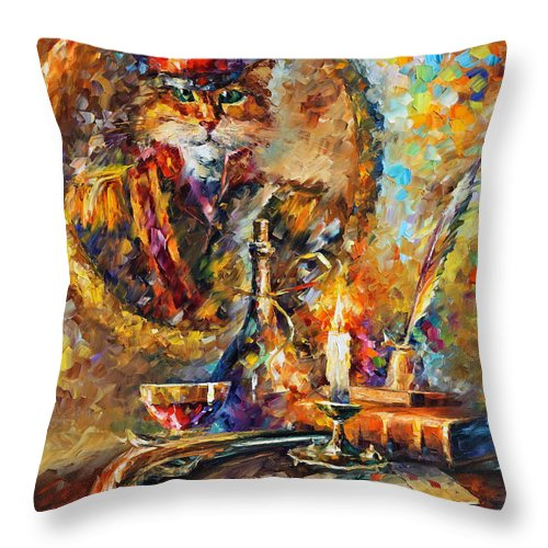 Afremov Throw Pillow featuring the painting Old General by Leonid Afremov
