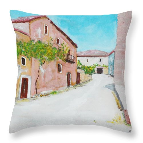 Houses Throw Pillow featuring the painting Old Houses Near The Old Church by Mauro Beniamino Muggianu