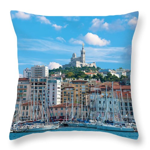 Blue Throw Pillow featuring the photograph Old Port Of Marseille by Gurgen Bakhshetsyan