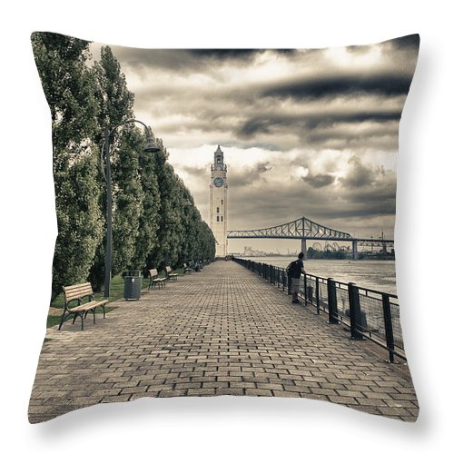 Bridge Throw Pillow featuring the photograph Old Port Of Montreal by Joel Bourgoin