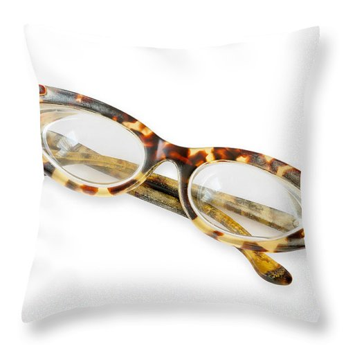 Accessory Throw Pillow featuring the photograph Old Tortoise Eyeglasses by Alain De Maximy