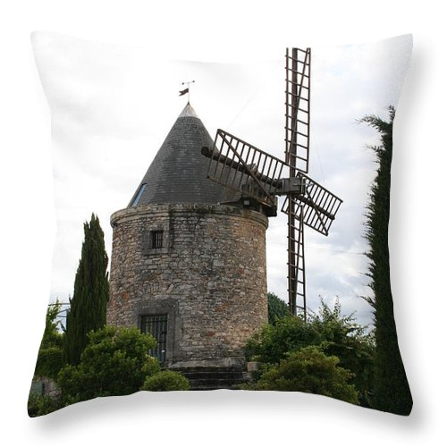 Mill Throw Pillow featuring the photograph Old Provencal Windmill by Christiane Schulze Art And Photography