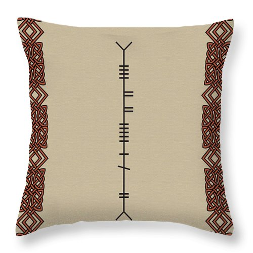 O'malley Throw Pillow featuring the digital art O'malley Written In Ogham by Ireland Calling
