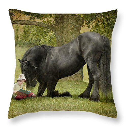 Friesian Throw Pillow featuring the photograph Once Upon A Time by Fran J Scott